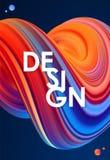Illustration de vecteur : 3D bleu et rouge ont coloré la forme de fluide tordue par résumé sur le fond foncé conception à la mode Photo stock