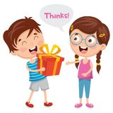 Illustration de vecteur d'enfant donnant le cadeau à son ami illustration de vecteur