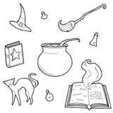 Illustration de vecteur d'ensemble d'éléments magique de conception Tiré par la main, griffonnage, collection de magicien de croq illustration libre de droits