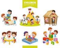 Illustration de vecteur d'ensemble d'activités d'enfants illustration libre de droits
