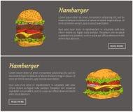 Illustration de vecteur d'ensemble d'affiches de nourriture d'hamburgers illustration de vecteur