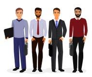 Illustration de vecteur d'ensemble de création de personnages de dessin animé d'hommes d'affaires Jeune homme d'affaires de souri illustration de vecteur