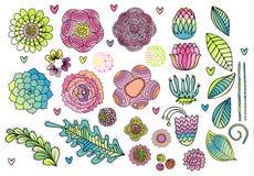 Illustration de vecteur d'ensemble d'éléments de fleur illustration libre de droits