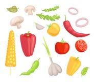 Illustration de vecteur d'ensemble d'icônes de Veggies de légumes illustration de vecteur