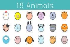 Illustration de vecteur d'ensemble mignon d'animal, animal 18 drôle Image stock