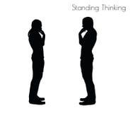 Illustration de vecteur d'ENV 10 d'un homme dans la pose de pensée debout sur le fond blanc Photos libres de droits