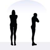 Illustration de vecteur d'ENV 10 de femme dans la pose soucieuse sur le fond blanc Photo libre de droits
