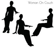 Illustration de vecteur d'ENV 10 de femme sur la pose de divan sur le fond blanc Photos libres de droits