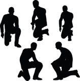Illustration de vecteur d'ENV 10 en silhouette du support d'homme d'affaires à se mettre à genoux Photo stock