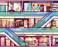 Illustration de vecteur d'escalier d'escalator de boutique de mail illustration libre de droits