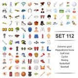Illustration de vecteur d'extrémité, sport, hippodrome, cheval, ensemble d'icône de base-ball de basket-ball de boxe de cycliste  illustration stock