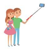 Illustration de vecteur d'homme et de femme de couples de Selfie illustration libre de droits