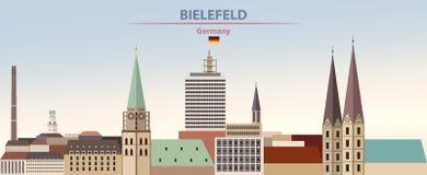 Illustration de vecteur d'horizon abstrait de ville de Bielefeld sur le beau fond de ciel de jour de gradient coloré avec le drap illustration libre de droits