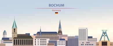 Illustration de vecteur d'horizon abstrait de ville de Bochum sur le beau fond de ciel de jour de gradient coloré avec le drapeau illustration libre de droits