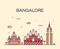 Illustration de vecteur d'horizon de Bangalore linéaire illustration stock