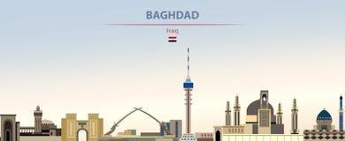 Illustration de vecteur d'horizon de ville de Bagdad sur le beau fond de jour de gradient coloré illustration stock