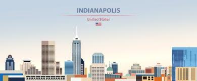 Illustration de vecteur d'horizon de ville d'Indianapolis sur le beau fond de ciel de jour de gradient coloré avec le drapeau des illustration de vecteur