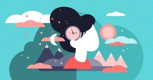 Illustration de vecteur d'horloge biologique Concept sans enfant vieillissant minuscule de personnes illustration libre de droits
