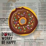 Illustration de vecteur d'icône réaliste de beignet de chocolat Image libre de droits