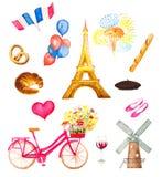 Illustration de vecteur d'icônes de Paris d'aquarelle Images libres de droits