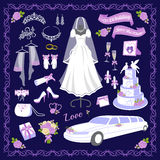 Illustration de vecteur d'icônes de style de bande dessinée de mariage illustration stock