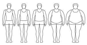 Illustration de vecteur d'indice de masse corporelle du poids insuffisant extrêmement à obèse illustration libre de droits