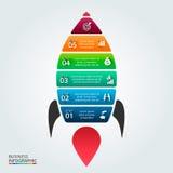Illustration de vecteur d'infographic avec la fusée Image stock
