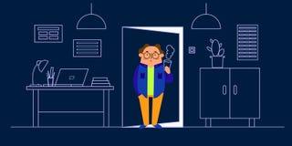 Illustration de vecteur d'intérieur de bureau, bureau, ordinateur portable, lampe, garde-robe, table, cactus mis en pot Caractère illustration de vecteur