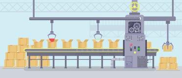Illustration de vecteur d'intérieur de fabrication avec travailler la machine intelligente avec la bande de conveyeur de producti