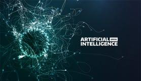 Illustration de vecteur d'intelligence artificielle Traînée d'écoulement de turbulence Fond futuriste de la science Structure org illustration libre de droits