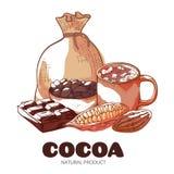 Illustration de vecteur d'isolement par bannière tirée par la main de produit de cacao illustration libre de droits