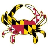 Illustration de vecteur d'isolement par crabe de drapeau du Maryland photos stock