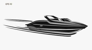 Illustration de vecteur d'isolement par hors-bord Bateau de luxe et cher illustration de vecteur