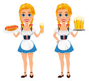 Illustration de vecteur d'Oktoberfest avec la fille rousse sexy tenant b Photo stock