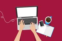 Illustration de vecteur d'ordinateur portable de vue supérieure Photo stock
