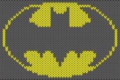 Illustration de vecteur d'ornement tricotée par logo de Batman illustration stock