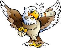Illustration de vecteur d'un aigle jouant au base-ball Images libres de droits
