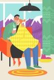 Illustration de vecteur d'un couple heureux se reposant dans une chaise confortable dans une chambre avec vue sur les montagnes illustration libre de droits