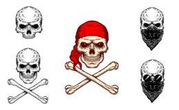 Illustration de vecteur d'un crâne et des os croisés Photographie stock libre de droits