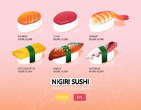 Illustration de vecteur d'un ensemble de sushi de nigiri Nourriture japonaise Collection d'icône de variations Photos libres de droits