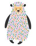 Illustration de vecteur d'un ours de bande dessinée Ours gris stylisé Art pour des enfants Animal des chiffres géométriques Habit Illustration de Vecteur