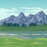 Illustration de vecteur d'un paysage de montagne Photographie stock