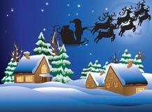 Illustration de vecteur d'un village snow-covered. Images libres de droits