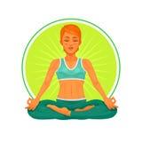 Illustration de vecteur d'un yoga de fille Photos stock