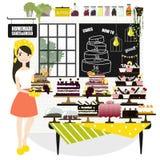 Illustration de vecteur d'une femme vendant des gâteaux à un magasin de boulangerie Images stock
