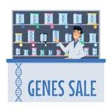 Illustration de vecteur d'une future pharmacie Vente de gènes illustration libre de droits