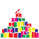 Illustration de vecteur d'une montagne des cadeaux Photographie stock
