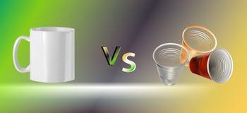 Illustration de vecteur d'une tasse en c?ramique blanche et des verres en plastique color illustration libre de droits