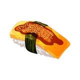 Illustration de vecteur dans le style de bande dessinée Egg les sushi avec le nori, la sauce et le sésame D'isolement sur le fond Photo libre de droits