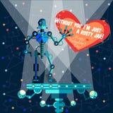 Illustration de vecteur dans le style plat au sujet du robot Carte de voeux Images stock